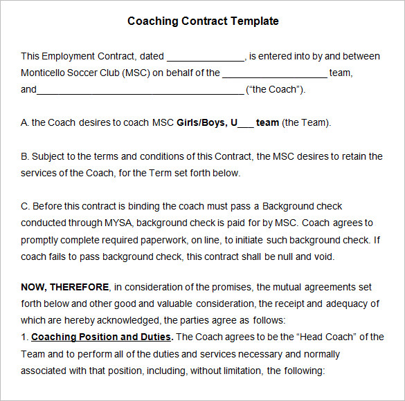 Download Download Coaching Contract Template Word For Free  Tidyform