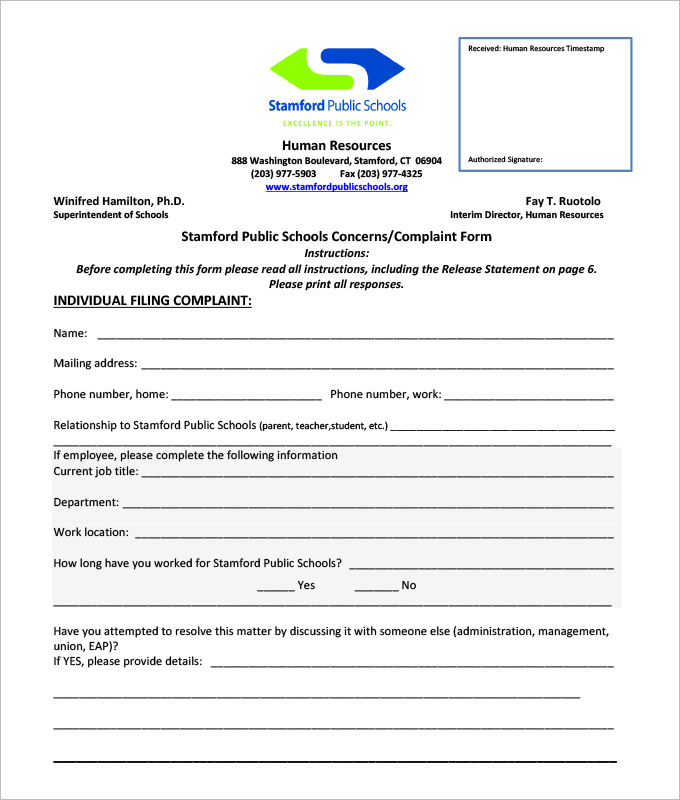 Download Employee Complaint Form Template For Free  Tidyform