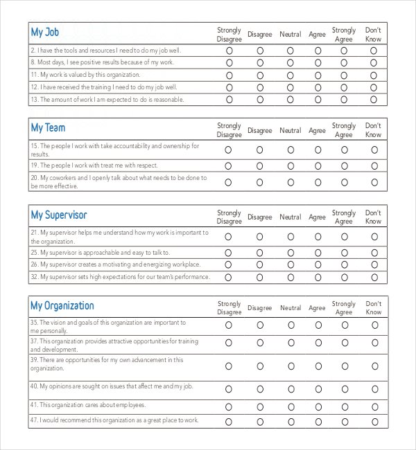 The Employee Engagement Survey Example Template Can Help You Make