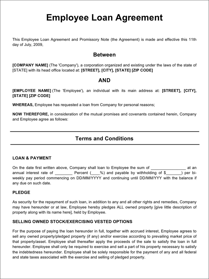 Doc728972 Employee Loan Agreement Template Free Employee Loan – Sample Business Loan Agreement