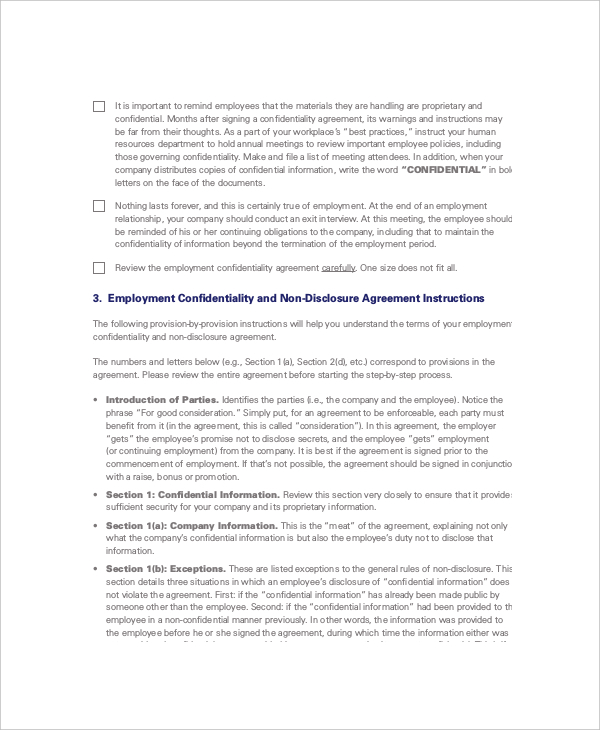 The Employee Non Disclosure And Confidentiality Agreement Sample