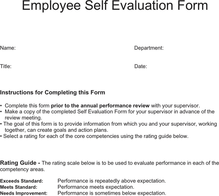 The Employee Self Evaluation Form can help you make a professional – Employee Self Evaluation Sample