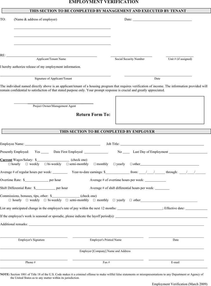 Doc12771652 Blank Employment Verification Form 4 employment – Proof of Employment Form