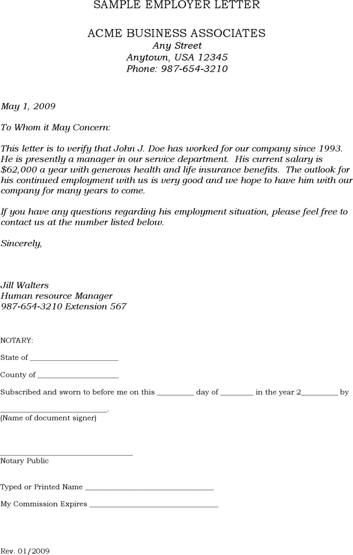 Download Sample Employer Letter For Free