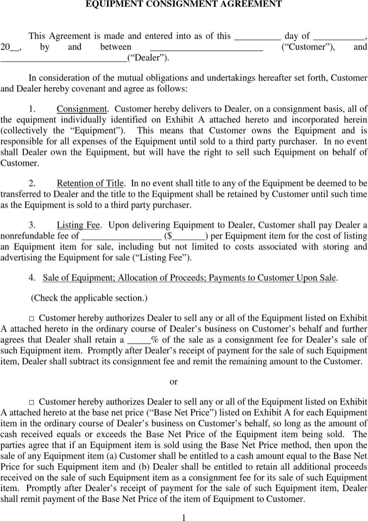 The Equipment Consignment Agreement can help you make a – Consignment Agreement Template Word