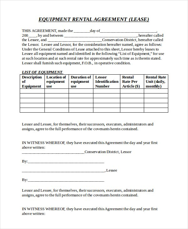 Download Equipment Rental Agreement Example For Free  Tidyform
