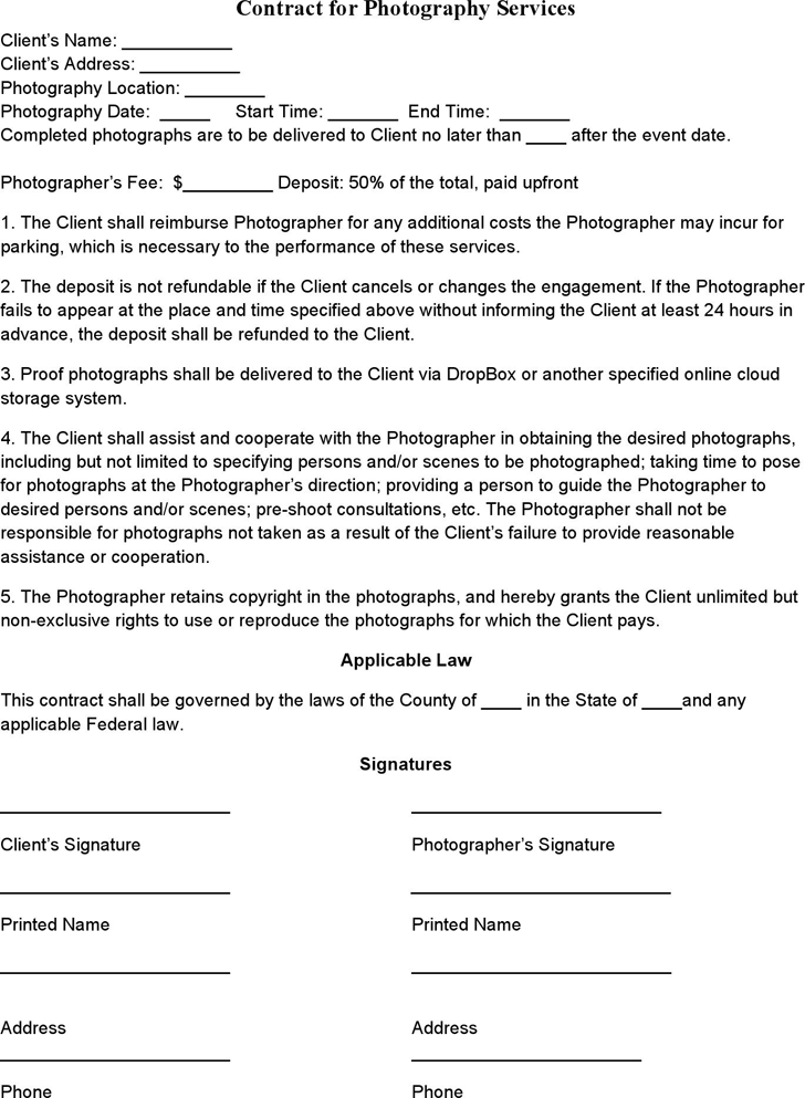 The Event Photography Contract Template can help you make a ...