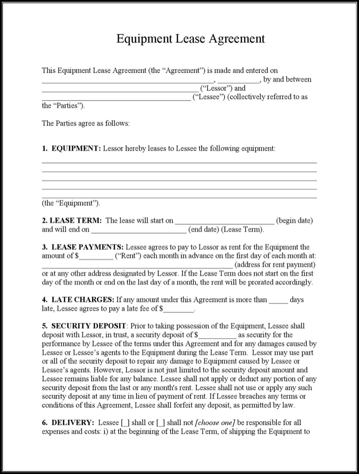 Download Example Equipment Lease Agreement Template for Free ...