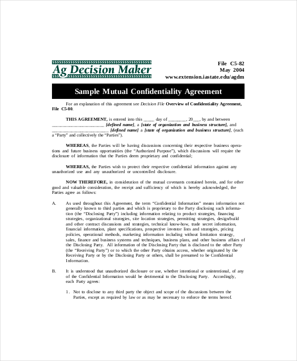 Download example mutual confidentiality agreement for free for Merger agreement template