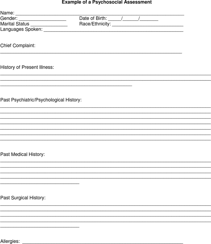 The Example of a Psychosocial Assessment can help you make a – Psychosocial Assessment Form