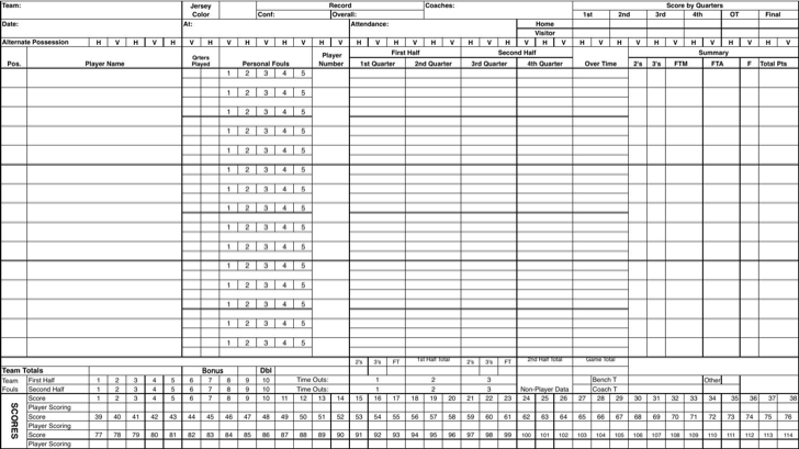 Download Excel Basketball Scorecard Sample Template for Free – Scoreboard Sample
