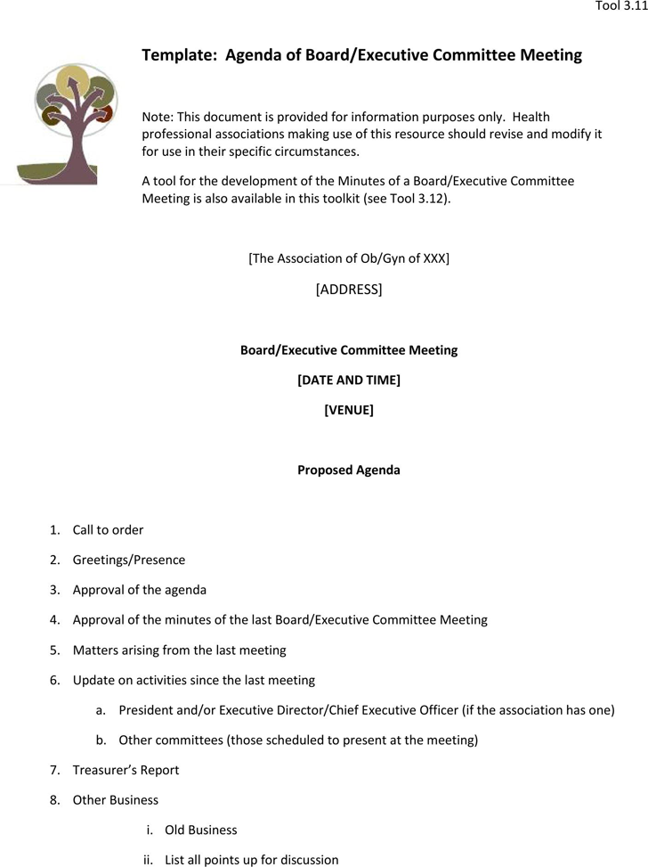 The Meeting Agenda Template in PDF Word Excel format are free – Agenda Meeting Template