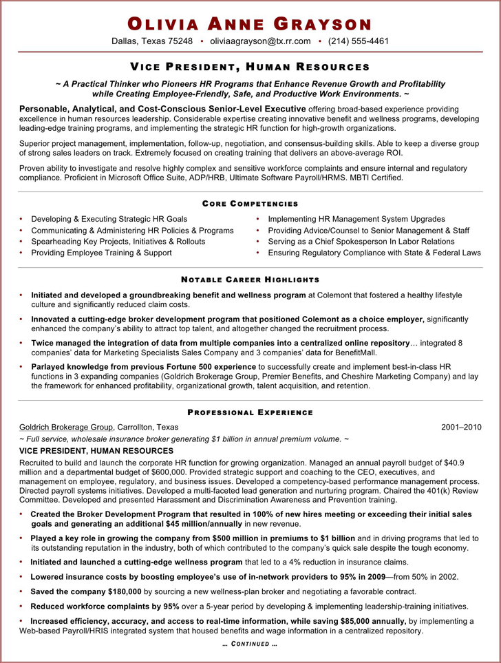 The Executive Resume Sample For HR VP can help you make a – Human Resources Resume Template