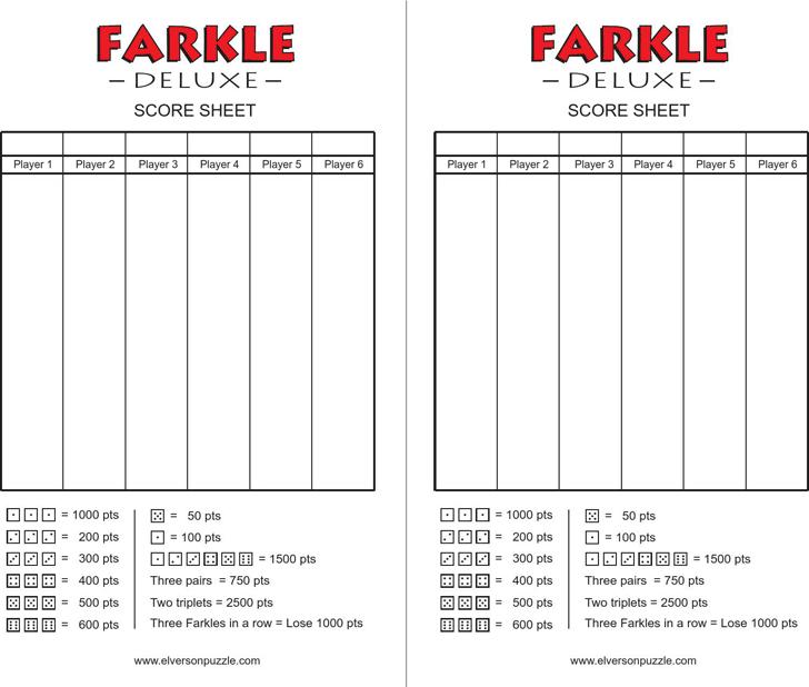 Free Farkle Score Cards Formxls