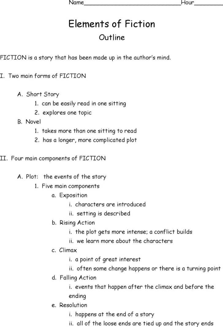 Fiction Story Outline Template. Name___________________________Hour________
