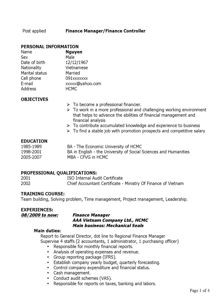 finance manager resume template - Finance Manager Resume Template