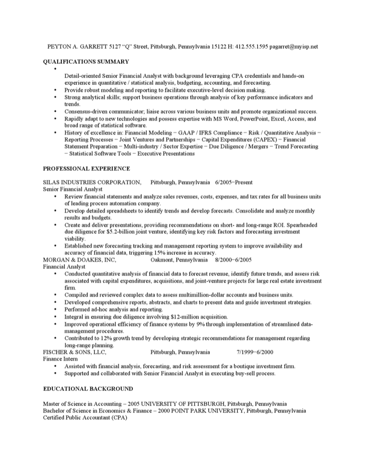 financial analyst sample resume financial analyst resume samples sample resume of financial