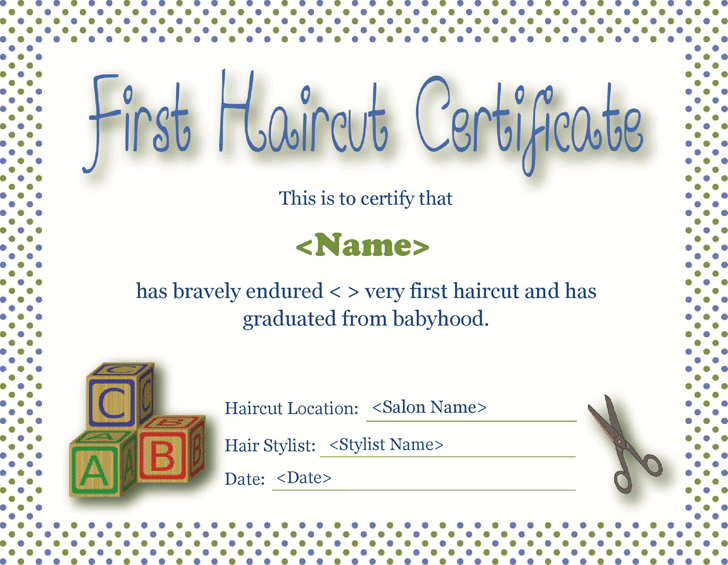 Free First Haircut Certificate Formxls