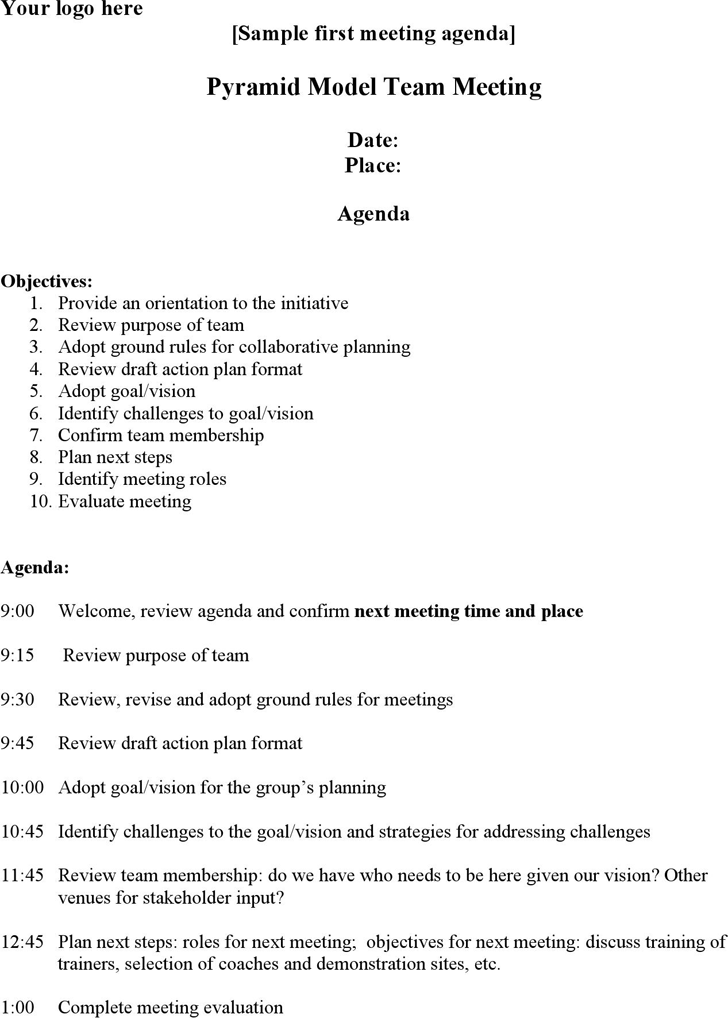 The Meeting Agenda Sample Templates in PDF Word Excel format are – Samples of Agendas for Meetings