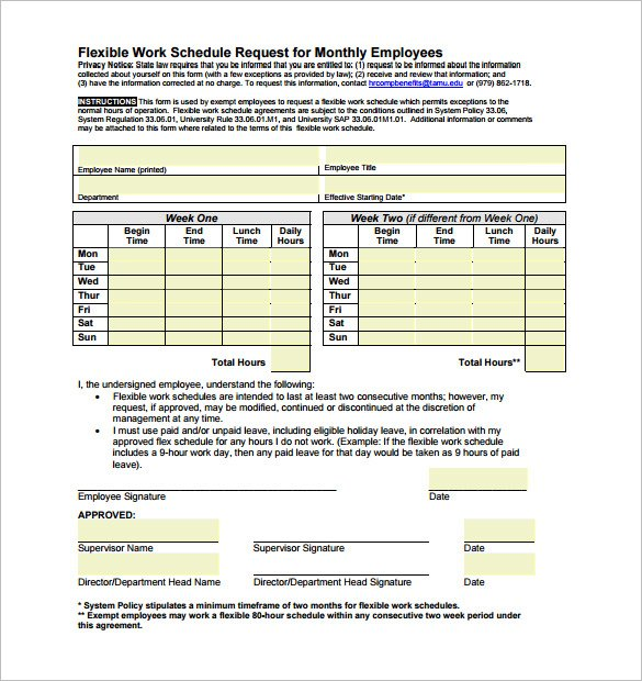 The Flexible Work Schedule Request For Monthly Employees Pdf Can