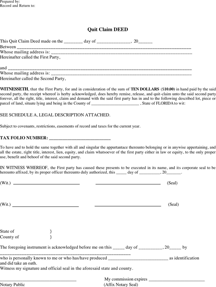 quit claim deed florida form quick deed form | dzeo.tk
