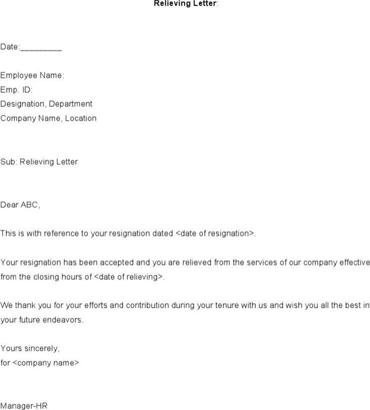 Download format of relieving letter from employee for free tidyform format of relieving letter from employee altavistaventures Choice Image