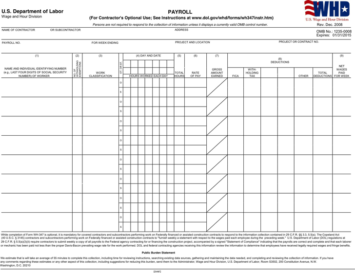 Download General Certified Payroll Form for Free - TidyForm