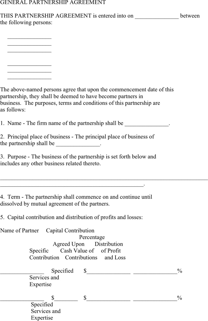 The General Partnership Agreement Template can help you make a – Business Partnership Contract