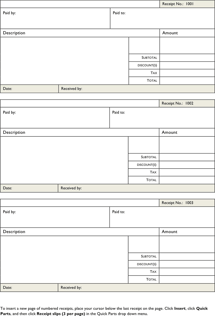 Download Free Printable Receipt Forms for Free TidyForm – Receipt Forms