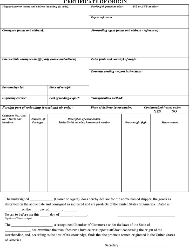 Doc801985 Generic Certificate of Origin Template Certificate – Generic Certificate of Origin Template