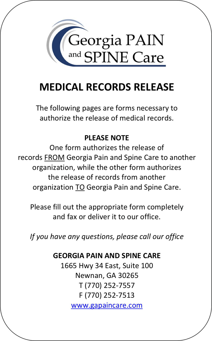 The Georgia Medical Records Release Form 1 can help you make a – Medical Records Release Forms