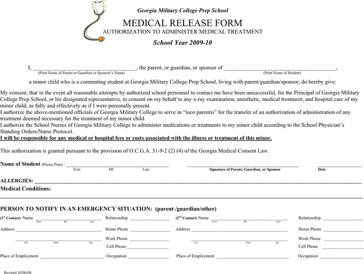 The Georgia Medical Release Form 1 can help you make a – Medical Release Form