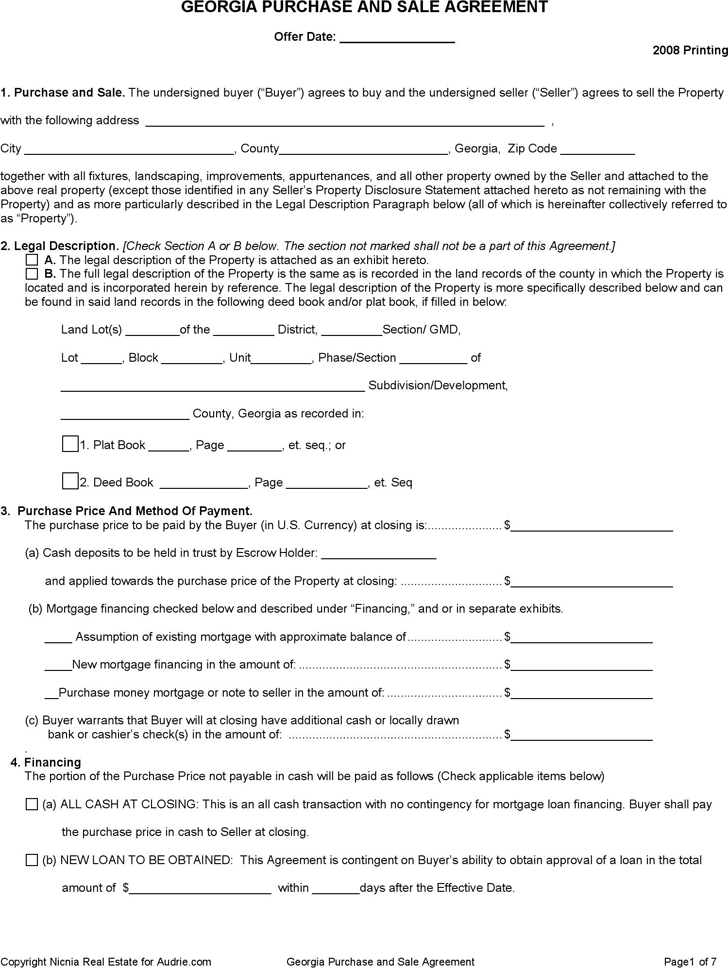Free Georgia Purchase And Sale Agreement Form Formxls