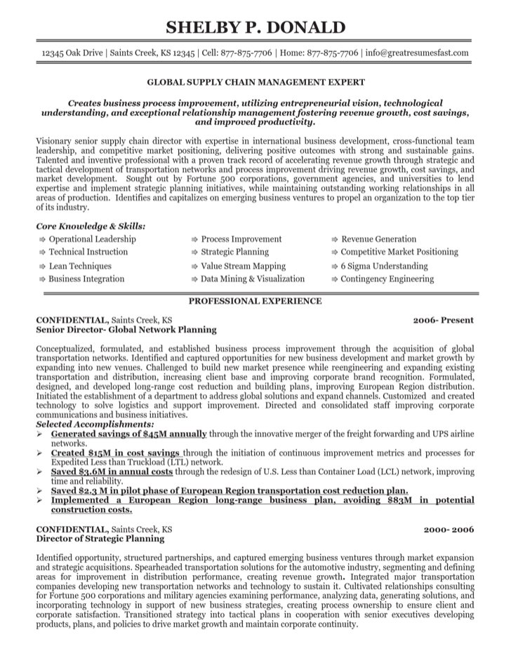global supply chain manager resume - Supply Chain Management Resume