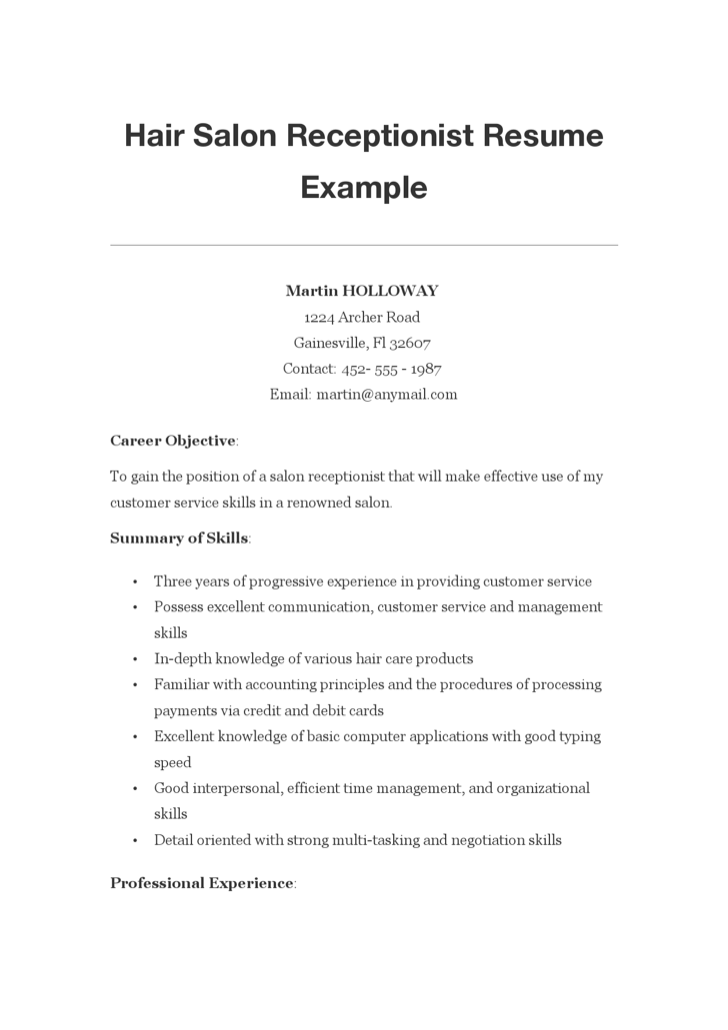 hair salon receptionist resume exle for free