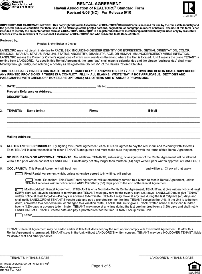 The Hawaii Residential Lease Agreement Form can help you make a – Lease Agreement Form