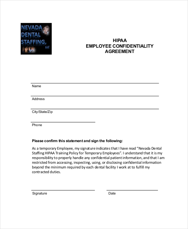 Download Hipaa Employee Confidentiality Agreement Form For Free