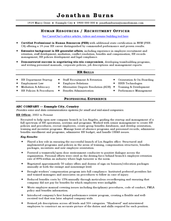 hr recruitment consultant cv template for free