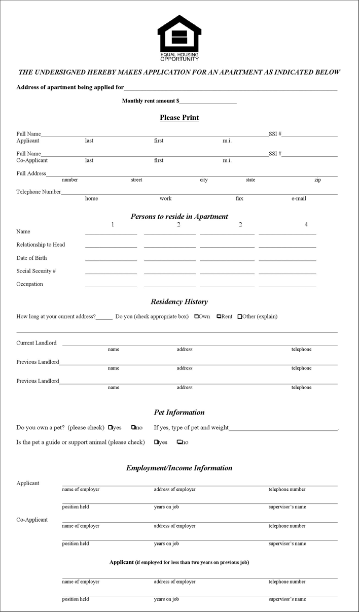 The Illinois Rental Application Form can help you make a – Apartment Application Form