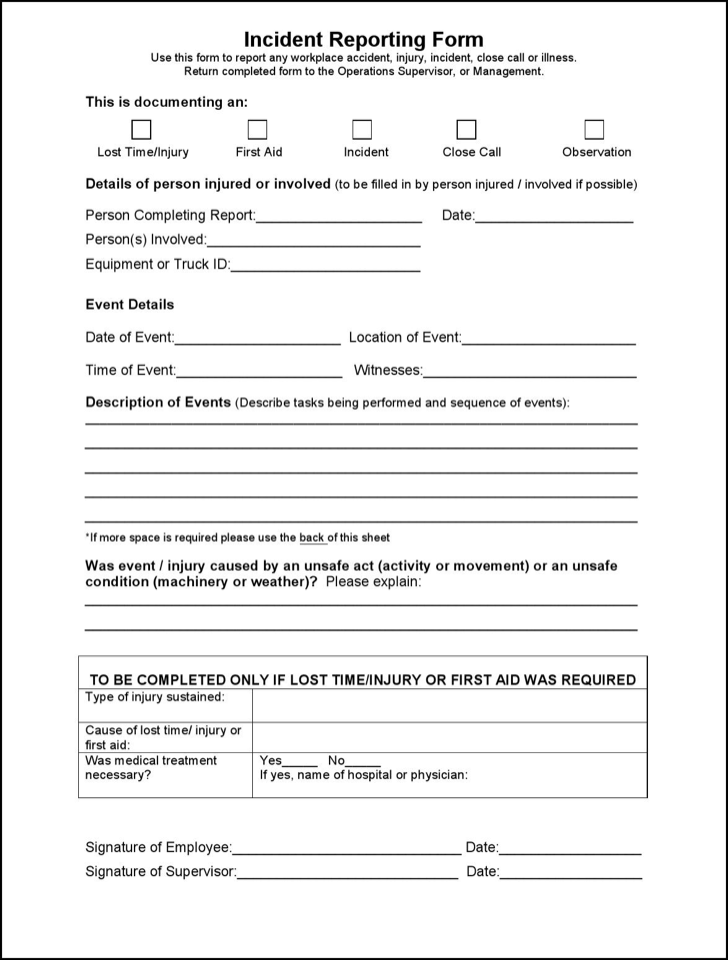 first aid report form template