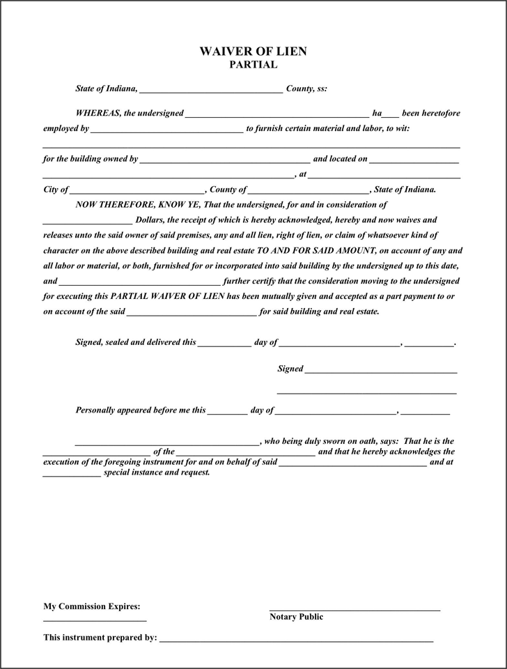 download indiana partial waiver of lien for free tidyform With partial lien waiver template
