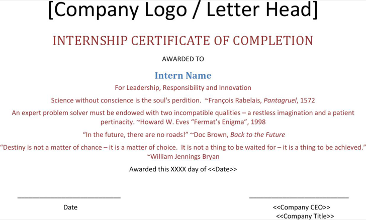 The Internship Completion Certificate Template Can Help