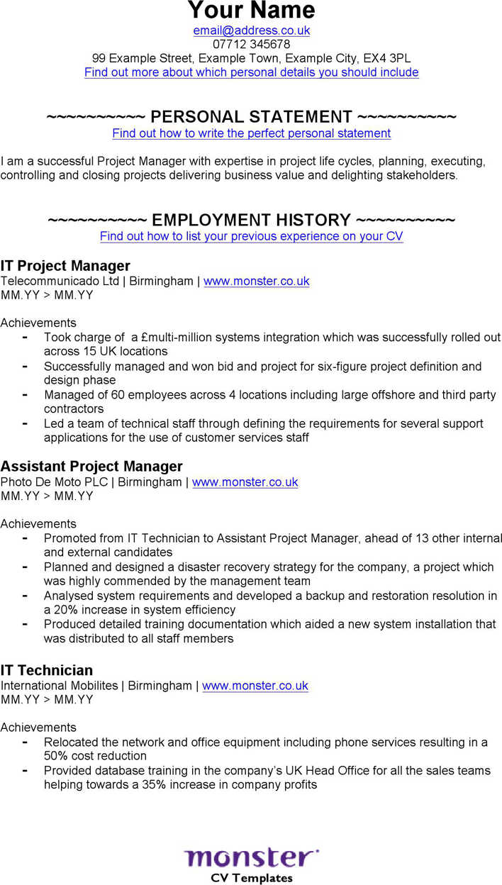 the it project manager cv template can help you make a it project manager cv template