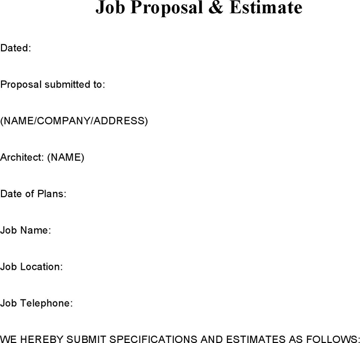 The Job Proposal Samples Estimate can help you make a – Job Proposal Template