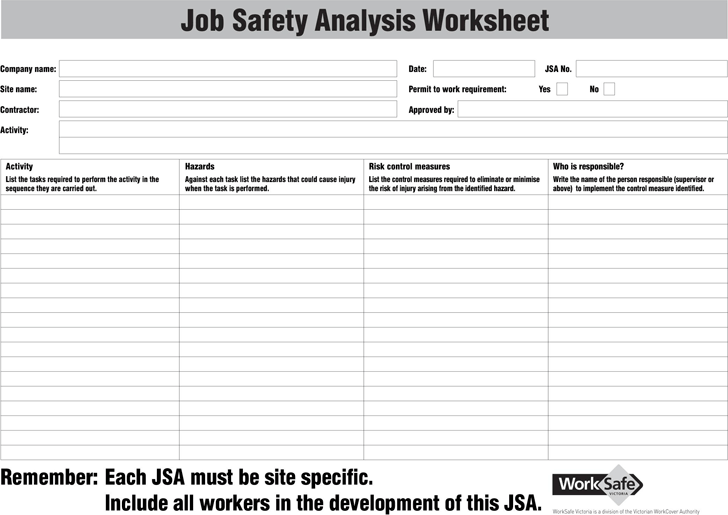 The Job Safety Analysis Worksheet can help you make a professional and ...
