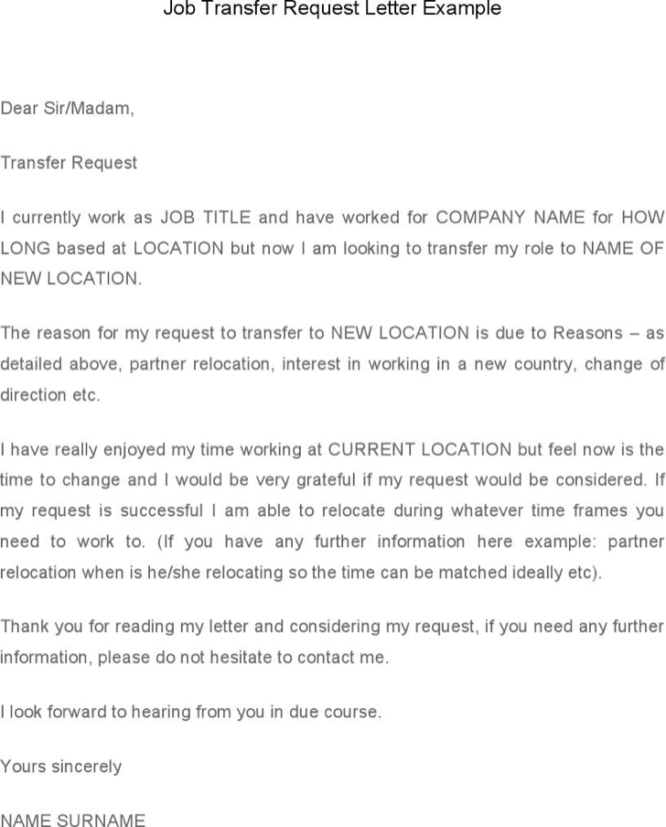 The Job Transfer Request Letter Template Example can help you make ...