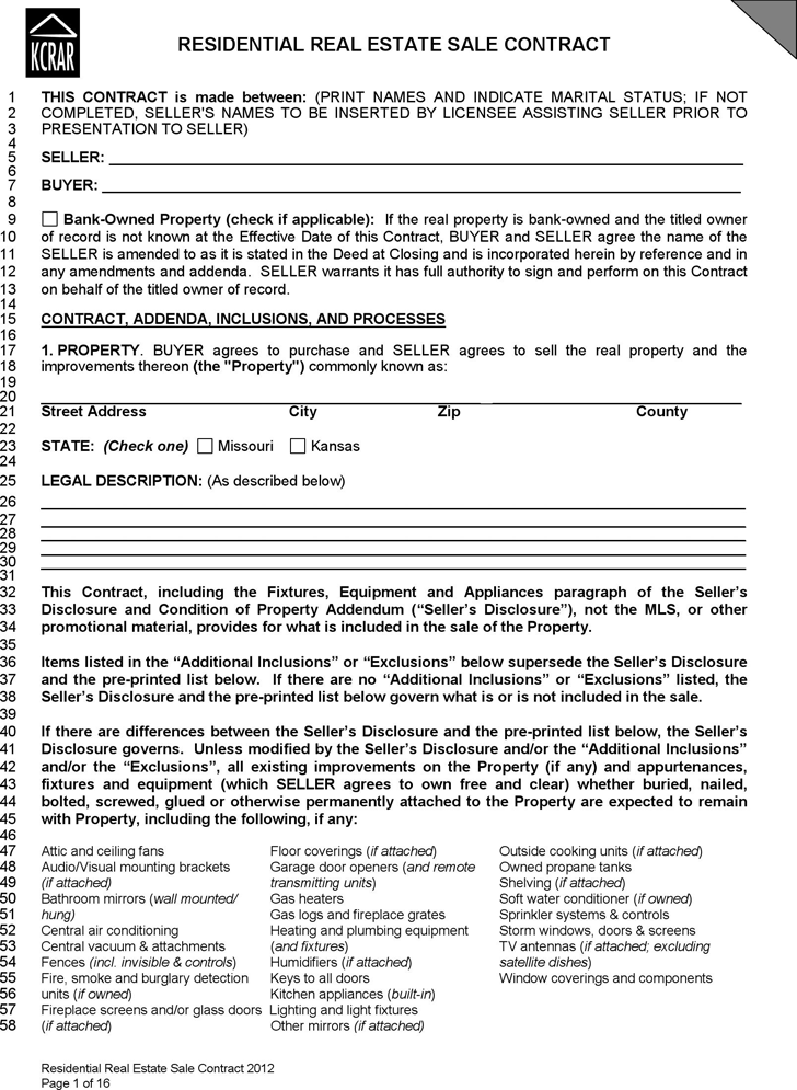 Kansas Residential Real Estate Sale Contract Form  Home Sales Agreement Template