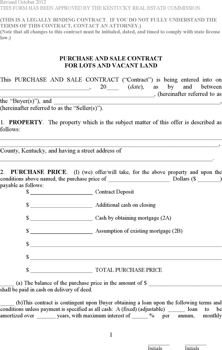 download kentucky purchase and sale contract for lots and