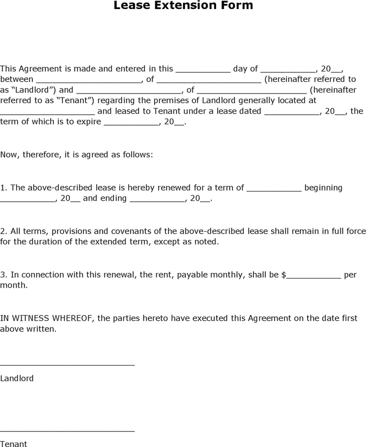 The Lease Extension Form can help you make a professional and – Tenant Lease Form