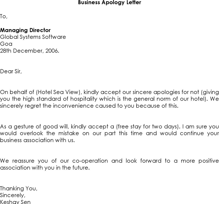 Letter Of Apology Business  Company Apology Letter Sample